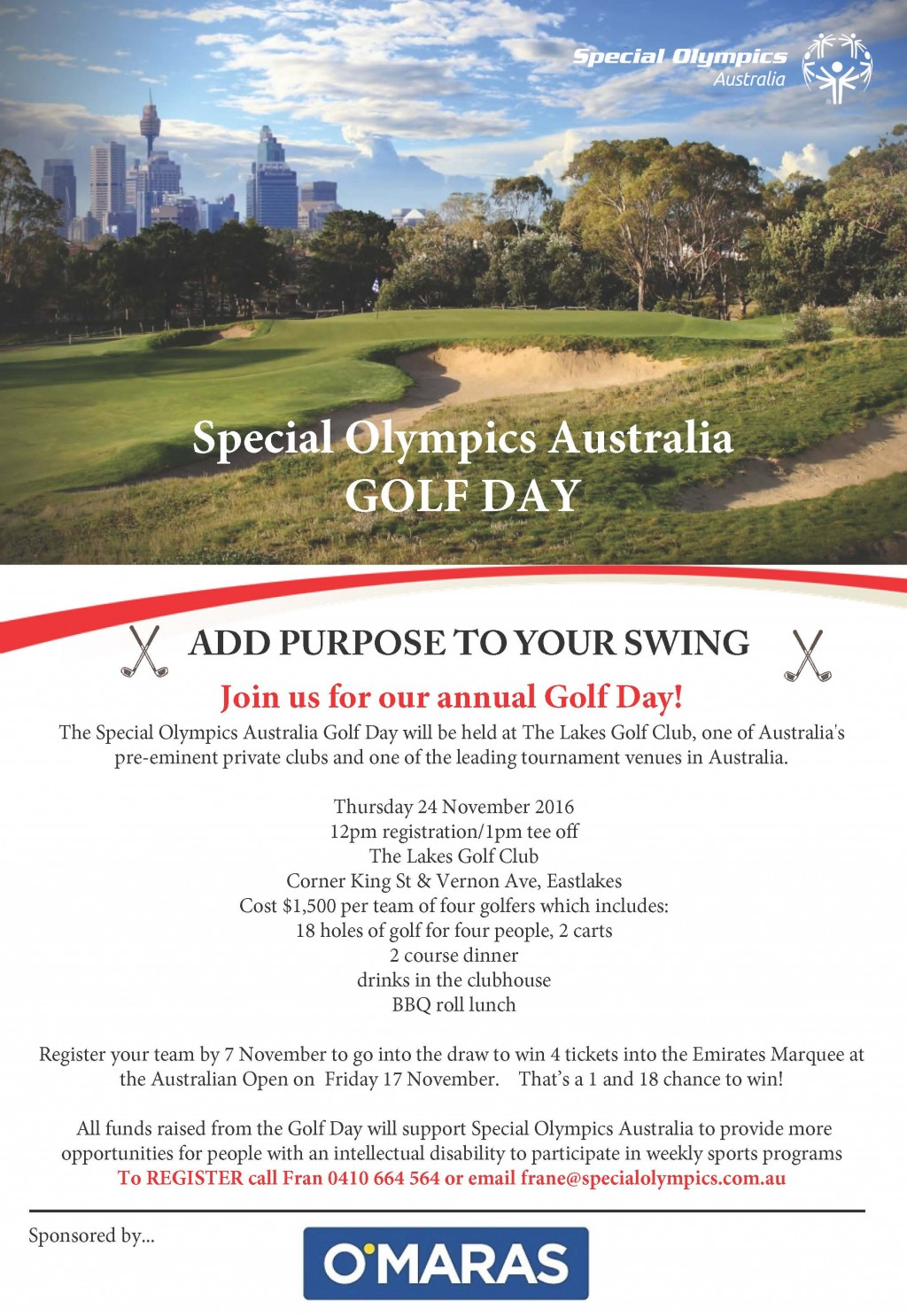 Special Olympics Australia Golf Day 2016 - Event Details